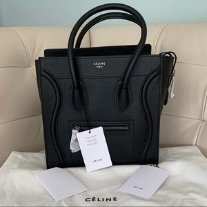 Celine Drummed Leather Mini Luggage Bag